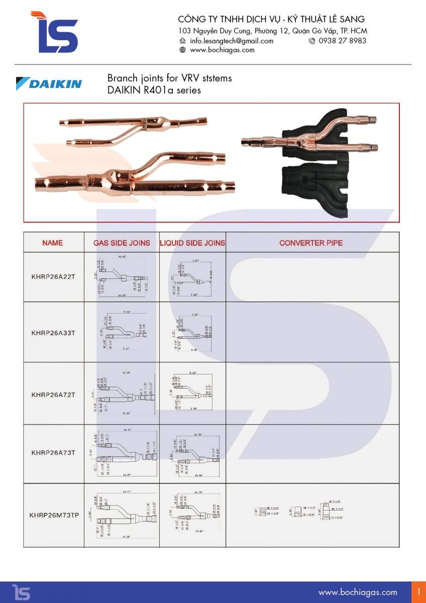 Catalogue bộ chia gas